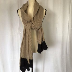 Brown and black knit scarf